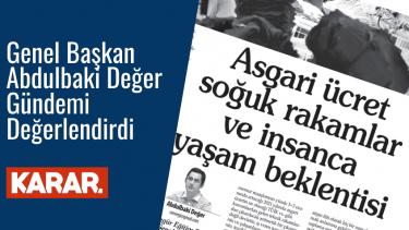 Özgür Eğitim-Sen Genel Başkanı Abdulbaki Değer'den Asgari Ücret Değerlendirmesi