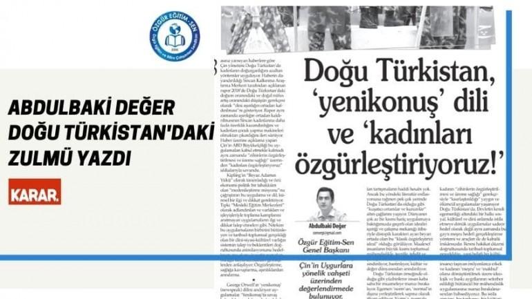 Abdulbaki Değer Doğu Türkistan'ı Yazdı